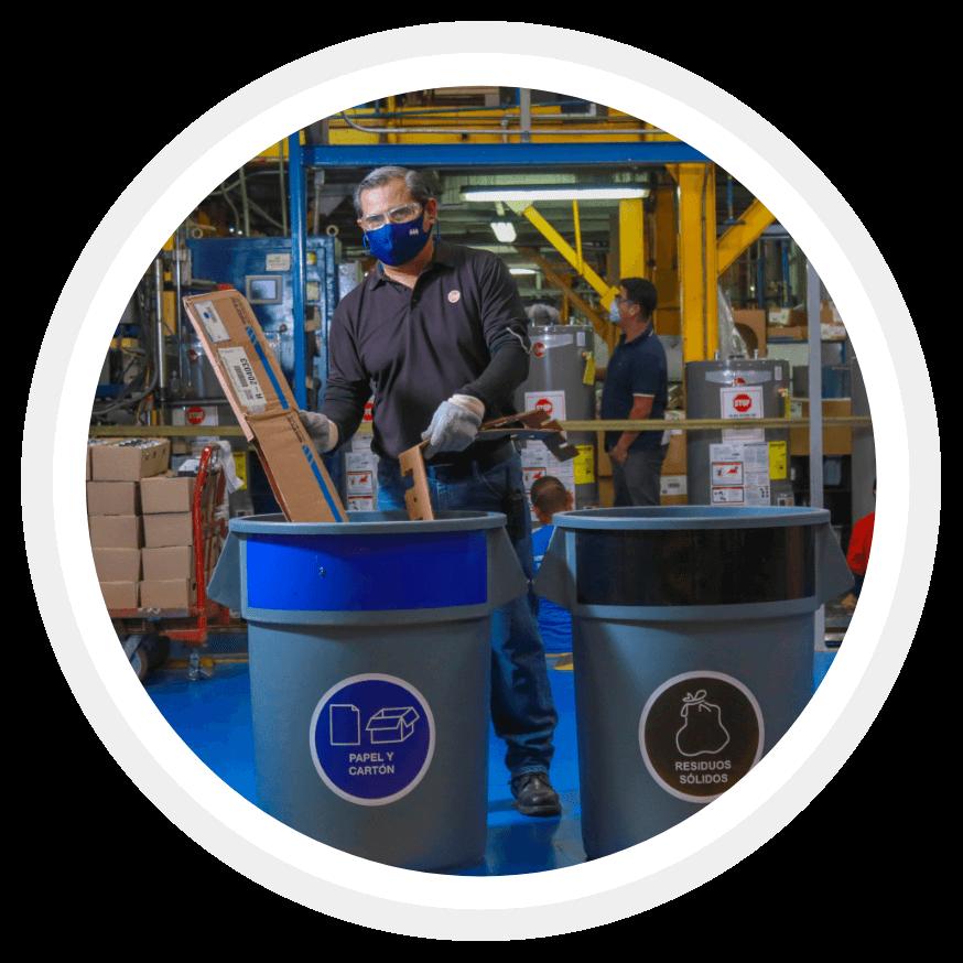 A man recycling waste at a Rheem plant